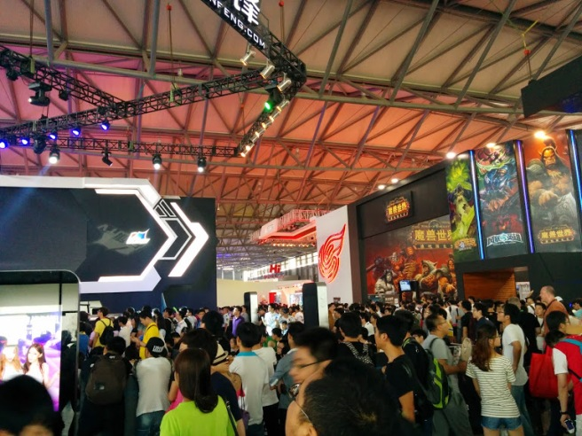 Busy exhibition halls at ChinaJoy 2014